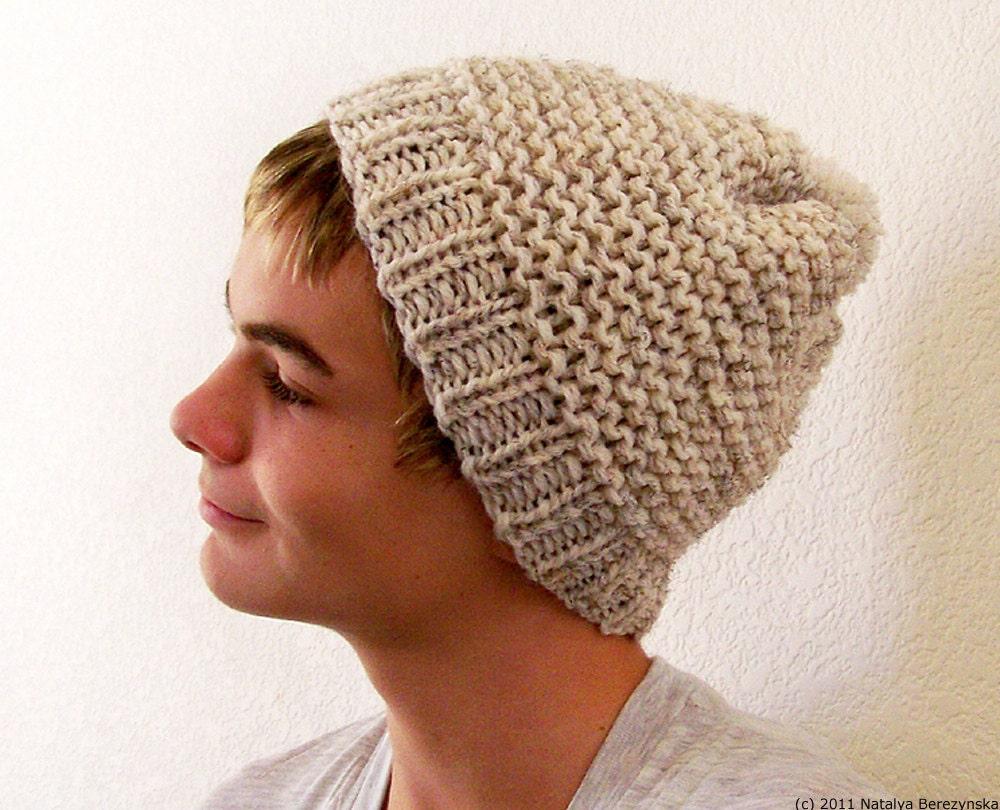 Chunky Scarf Knitting Patterns Free : Mens Beanie Hat Knit Pom Beanie Mans Hat Mens by natalya1905