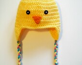Yellow Chick Hat Baby Chicken Bird Beanie Crochet Earflaps Gender Neutral Newborn 3 6 9 12 24 months 2T 3T 4T Easter Holiday photo prop