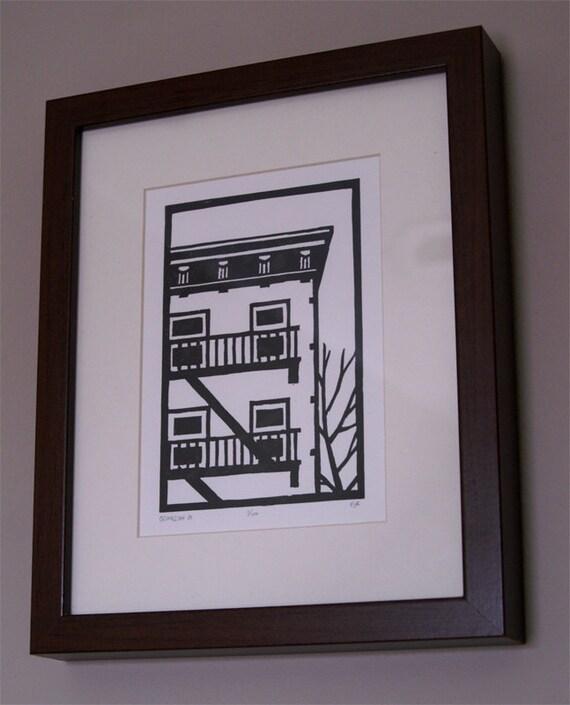 Original Linocut Print - Brooklyn building in black - Free Shipping