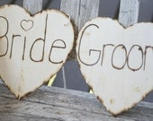 LARGE Bride and Groom Chair Signs Rustic Wedding Decor (item E10083)