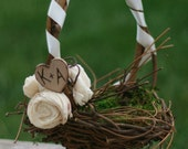 Personalized Flower Girl Basket Engraved Rustic Wedding Decor (item B10018)