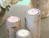 50 Centerpiece Birch Bark Log Candle Holders Rustic Chic (item M10564)