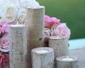 5 pc SET Centerpiece Birch Bark Log Votive Tea Light Candle Holders (item M10498)