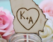 Cake Topper Engraved Wood State Rustic Wedding (item E10519)