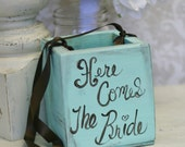 Flower Girl Basket Here Comes The Bride Sign Tiffany Blue Shabby Chic Wedding Decor