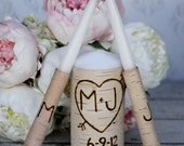 Personalized Wedding Unity Candle Set Rustic Birch Bark (Item Number 140300)