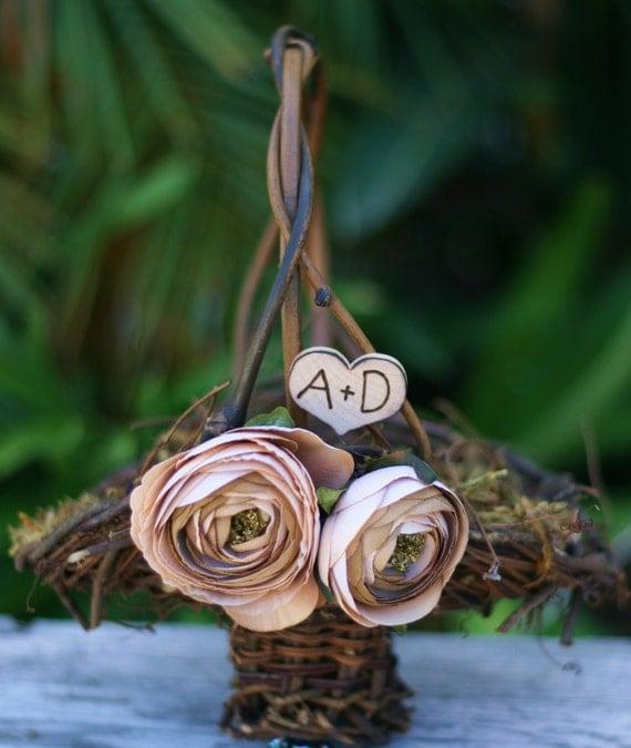 Flower Girl Basket Rustic Wedding Shabby Chic