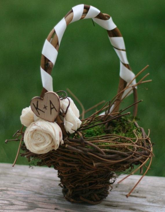 Personalized Flower Girl Basket Engraved Rustic Wedding Decor (item B10018)