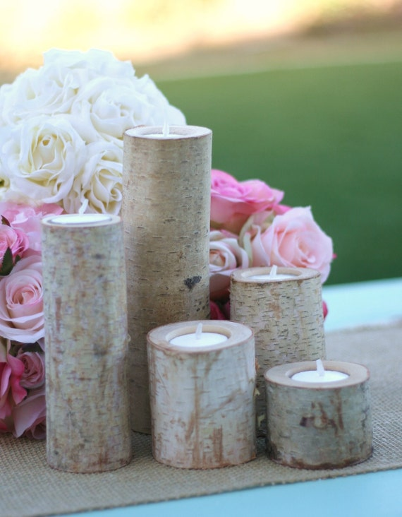 Items similar to pc set centerpiece birch bark log