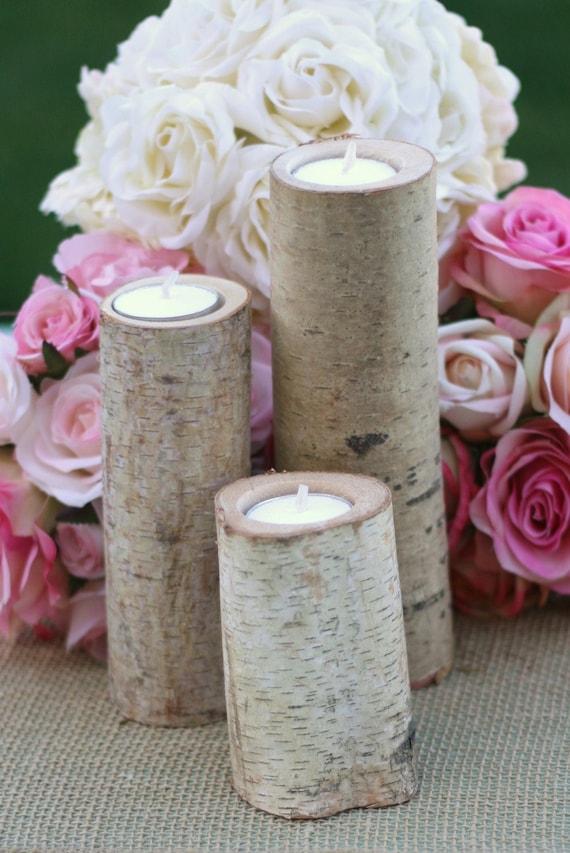 Birch Candles Rustic Wedding Decor