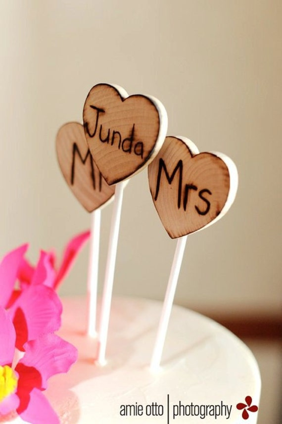 Set of 3 Mr. and Mrs. Personalized With your Last Name Initials Cake Toppers