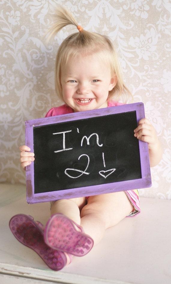 Chalkboard Sign Photo Prop Kids Birthday Party Invitation (item 20205)