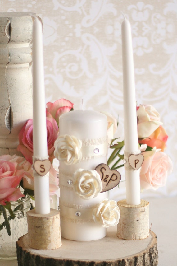 Personalized Rustic Chic Engraved Wedding Unity Candles (item C10405)