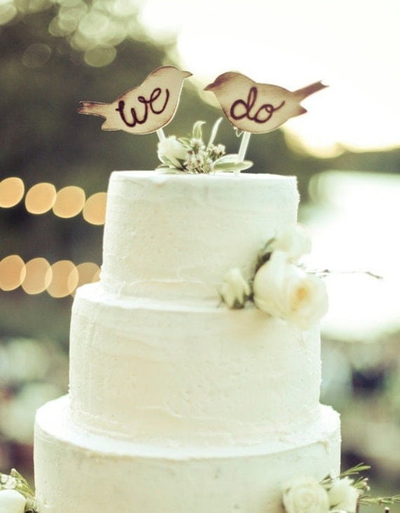 Rustic Wedding Cake Topper Love Birds We Do by braggingbags