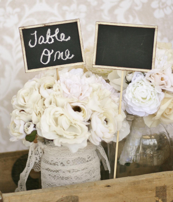 Shabby Chic Wedding Table Decorations: Items Similar To Chalkboard Signs Rustic Wedding Decor