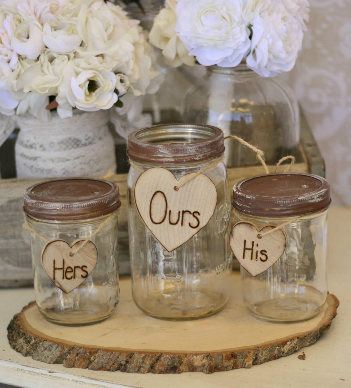 wedding sand ceremony set jars rustic chic decor by