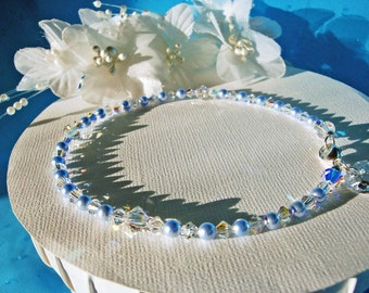 Something Blue Anklet Swarovski Crystals Pearls Wedding Ankle Bracelet Jewelry