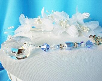 Ceiling Fan Pull Chain Swarovski Crystal Light Pulls Blue Baby Boy Nursery Decor