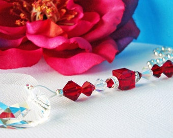 Red Ceiling Fan Pull Chain Swarovski Crystal Light Pulls Hanging Crystal