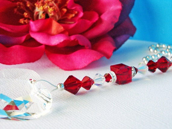 Red Ceiling Fan Pull Chain Swarovski Crystal Light Pulls