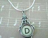 Personalized Typewriter key necklace, monogram, initial  Choose your letter  A B C  D E F G H  I J K L M N O P Q R S T U V W X Y Z