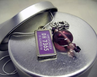 Illinois Purple Heart Charm Necklace with 1964 Illinois DAV License Tag License Plate and Roadster