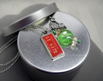 Green Heart Charm Necklace with 1961 Illinois DAV License Tag and VW Beetle Charm