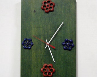 Recycled Cutting Board Kitchen Wall Clock - Green Clock with Faucet Knobs - Handles