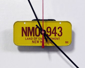 Retro 1982 New Mexico Bicycle License Plate Wall Clock - Mini NM License Tag Clock - Land of Enchantment - Back to School