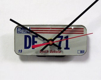 South Dakota Bicycle License Plate Wall Clock - Mini 1980 SD License Tag - Bike Clock