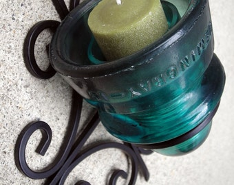 Glass Insulator Wall Sconce Light - Insulator Candle - Insulator Wall Vase - Aqua or Clear Glass