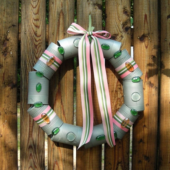 Cantastic Gray Wreath from Recycled Cans - Door Wreath - Pink and Green Ribbon