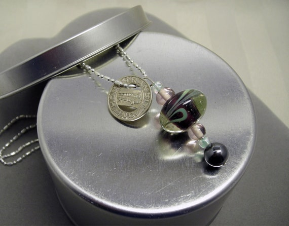 """Transit Token Necklace """"Going Home"""" Road Trip Necklace with Beaded Glass Pendant"""