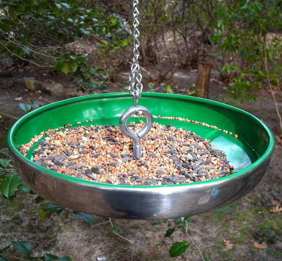 1964 - 1965 Ford Falcon Hubcap Bird Feeder - Recycled Hanging Birdfeeder - Emerald Green - Summer Garden