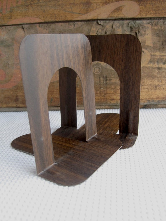 Vintage Faux Bois Industrial Metal Bookends Office Supply