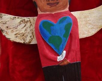 OOAK-Michael Jackson FOLK ART Angel/Original Hand Painted Michael Jackson Wooden Sculpture/Folk Art/Wooden Michael Jackson/Thriller