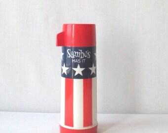Vintage Sambos Restaurant Thermos Bicentennial Flag Patriotic