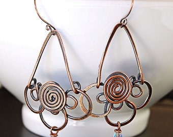 Copper Wire Wrapped Flower Earrings