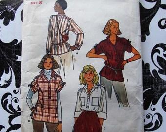 Vintage 1979 Butterick Pattern 6187 - Safari Style Blouse - Size 8, Bust 31.5