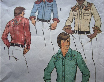 Rock A Billy - Vintage Simplicity Mens Western Shirt Pattern 6693- 1974 - Size 38 and 40