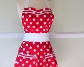 Full Womens Retro Apron, Red Polka Dots