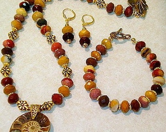 Fossilized Ammonite and Moukaite Jasper Necklace, Bracelet, Earrings