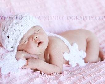 Baby Girl Snowflake Crochet Newborn Winter Fashion Christmas Photo Prop