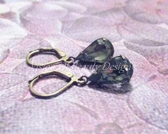 Vintage Black Diamond Earrings, Teardrop, Estate Style
