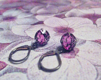 Estate Style Swarovski Fuchsia  Drop Earrings