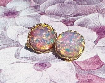 Vintage Pink Fire Opal Brass Clip On Earrings