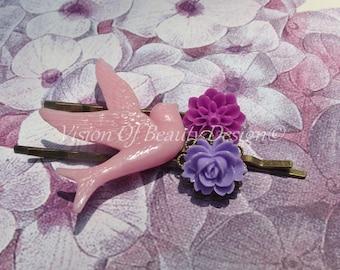 Bobby Pin Set - Pink. Purple. Magenta, Dove. Rose. Chrysanthemum