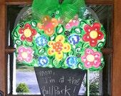 Happy Pot of Flowers Door Hanger/ Message Board - Bronwyn Hanahan Art