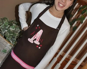 Personalized Embroidered Adult young Adult Apron polka dot applique Mommy Teacher GIFT
