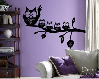 Mom With Baby Owls Vinyl Wall Decal Sticker
